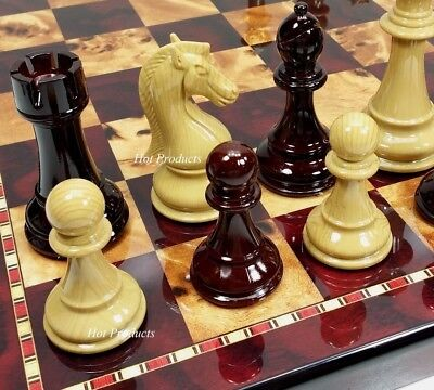 "*** Large 4 1/4"" King Staunton High Gloss Chess Set W/ 18"" Cherry Color Board"