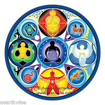WINDOW STICKER - GODDESS OF THE ELEMENTS MANDALA - DECAL 115mm Wicca Witch Pagan