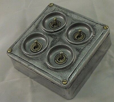 NEW Cast Metal Vintage Industrial 4 Gang Light Switch - BS EN Approved