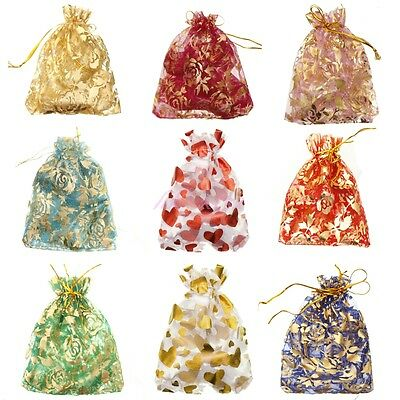 """New 10/100 Pcs 4""""x4.7""""  Candy Bag Sheer Organza Wedding Party Favor Gift Pouch"""