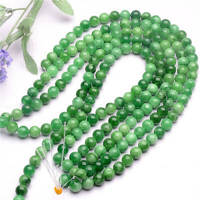 6-12mm Natural Green Han Jade beads DIY Crystal Accessories Long chain