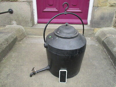 Large Antique Iron Kettle Stove Hanging Hotwater Pot Urn Brass Tap Victorian Old