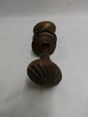 Antique Brass Bronze Oval Spiral Door Knob Set Escutcheons Old Vintage 4729-15