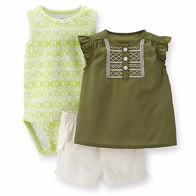 NEW NWT Carters Girls Island Shorts Set 3 6 or 9 Months Tunic Top Ruffles