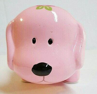PINK w/ FLOWERS MINI CERAMIC DOG PIGGY BANK LARGE SLOT COINS BILLS MONEY SAVE