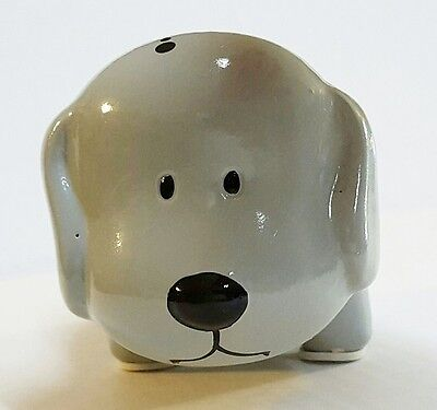 GRAY w/ BLACK MINI CERAMIC DOG PIGGY BANK LARGE SLOT COINS BILLS MONEY SAVE