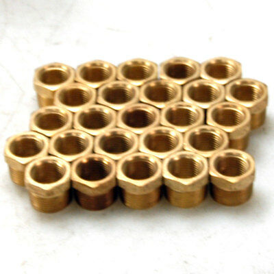 "(Lot of 25) NEW Brass Fitting Reducers 3/4"" NPT to 1/2"""