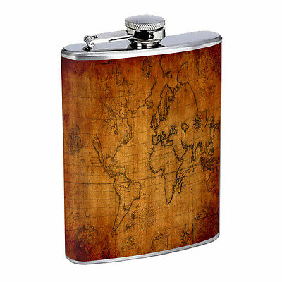 Vintage World Maps D9 8oz Hip Flask Stainless Steel Travel Countries