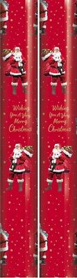 10m (2 x 5m) Opulent Christmas Gift Wrapping Paper - Red Xmas Tree & Wreath