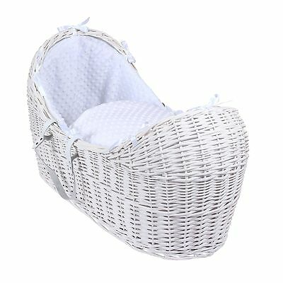 New Clair De Lune White Dimple White Wicker Baby Moses Basket / Noah Pod