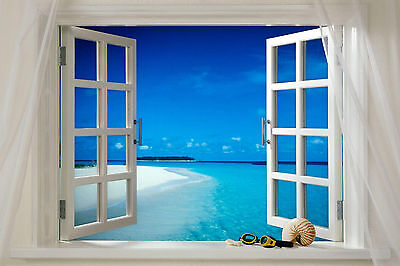 Tropical Beach Sea Scene Window View WALL ART CANVAS FRAMED OR POSTER PRINT
