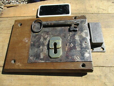 X Large Antique Wooden Lock Brass Iron Key Salvaged Vintage 1800's A.K & Sons