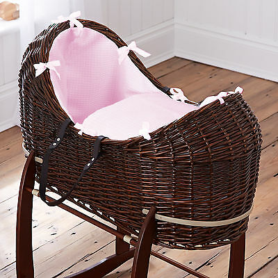 New Clair De Lune Pink Waffle Dark Wicker Baby Moses Basket / Noah Pod