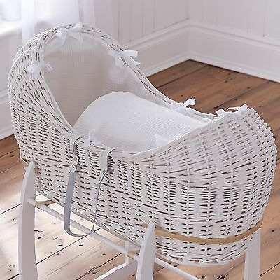 New Clair De Lune White Waffle White Wicker Baby Moses Basket / Noah Pod