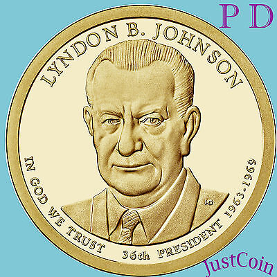 2015 P&d Set Lyndon B. Johnson Presidential Dollars From Mint Rolls Uncirculated