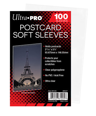 100 Ultra Pro Postcard Soft Sleeves