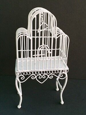 White Wire Bird Cage, Dolls House Miniature Ornate Birdcage 1.12 Scale