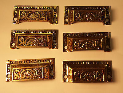 6 Vintage  Brass/bronze original  drawer pulls handles hardware  100+ years