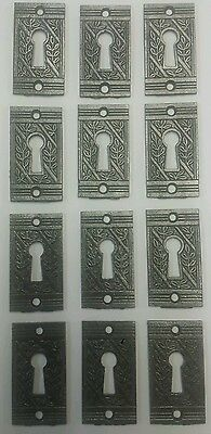 Set of12 matching antique Victorian  keyhole cover escutcheon