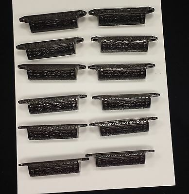 Drawer Pulls Embossed Cast Iron Victorian   Set Of 12  (#107B)