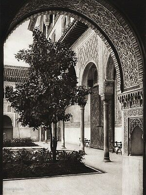 1922 Vintage SPAIN Granada Alhambra Palace Fort Myrtle Court Photo Art HIELSCHER