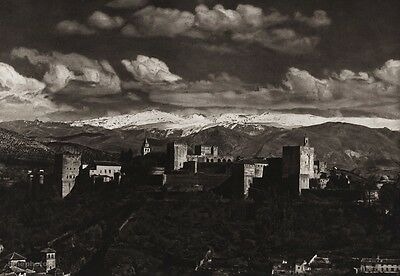 1922 Vintage SPAIN Granada Alhambra Palace Fort Landscape Photo Art By HIELSCHER