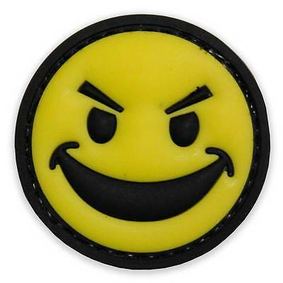 NEW 3D PVC Rubber Sinister Smiley Face Tactical Biker Morale Patch Yellow Black