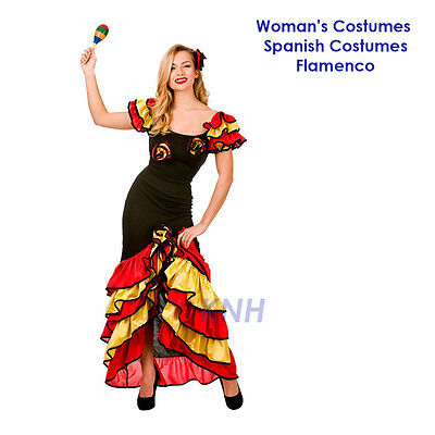 Woman's Costumes, Spanish Costumes, Mexican, Flamenco, Dress One Size 8-12
