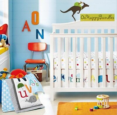 New Baby Boys Girls 8 Pieces Alphabet Theme Cotton Nursery Bedding Crib Cot Sets