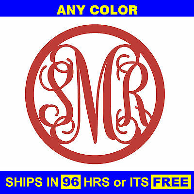 "18"" Painted Circle 3-Letter Monogram Wooden Baby Wedding Initials Wall Door Wood"