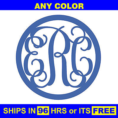 "20"" Painted Circle 3-Letter Monogram Wooden Baby Wedding Initials Wall Door Wood"