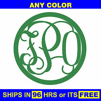 "24"" Painted Circle 3-Letter Monogram Wooden Baby Wedding Initials Wall Door Wood"