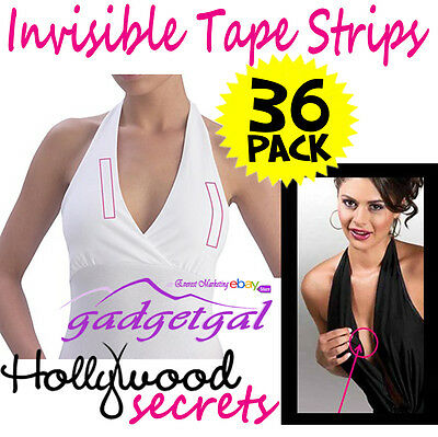 36 Pk Invisible Hollywood Secret Fashion Modesty Tape Dress Bare Lift Wig Toupee