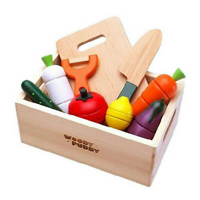 9 Pcs Kids Wooden VEGETABLE Fruit Cutting Kitchen Pretend Toy Cooking SET In Box