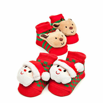 New NIP Nursery Rhymes 2 Pair Christmas Socks 0-6 Months Santa Reindeer Booties