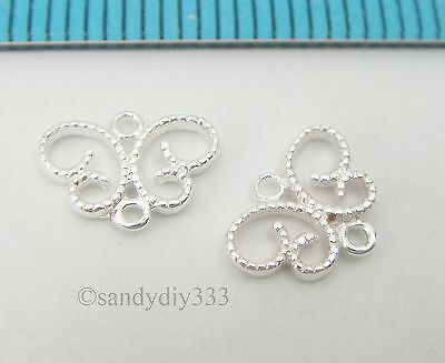 4x STERLING SILVER BUTTERFLY FILIGREE CHANDELIER CONNECTOR SPACER BEADS #2493