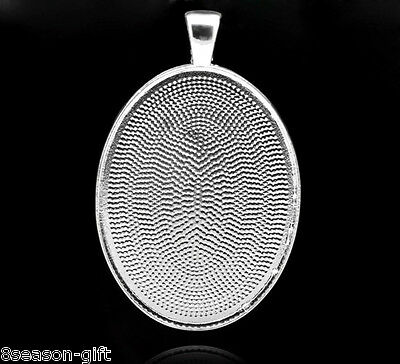 25 Silver Plated Oval Cameo Frame Settings Pendants 5x3.2cm(Fit 40x30mm)