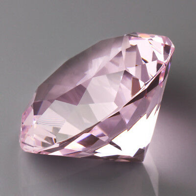 60mm Pink Crystal Diamond Shape Paperweight Glass Gem Display Gift Ornament