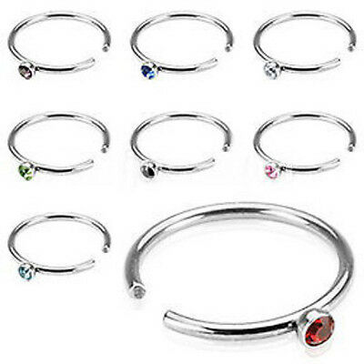 N#128 - 8pcs Gem Nose Hoops 20g Rings Wholesale Lot