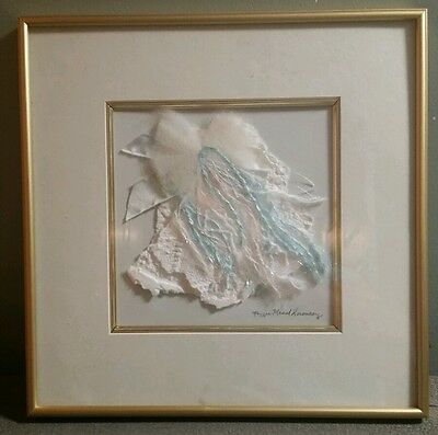 Peggie Mead Koroncey Framed Art Work In Blue Pink & White