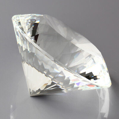 80mm Clear Crystal Diamond Shape Paperweight Glass Gem Display Gift Ornament