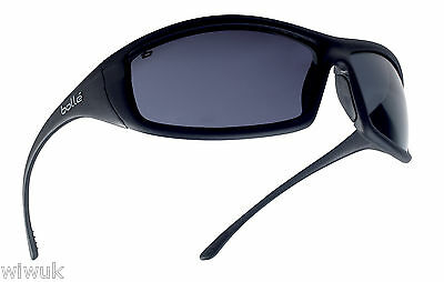 Bolle SOLIS SMOKE shaded tinted anti scratch safety glasses - FREE storage pouch