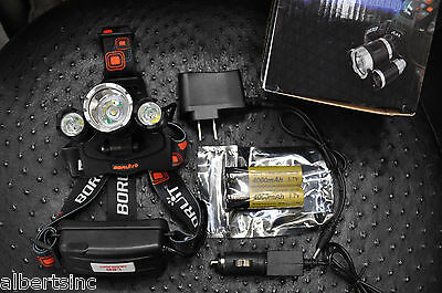 BORUiT 12000 Lumen Headlamp XM-L 3x T6 LED Headlight 18650 Light Charger Battery