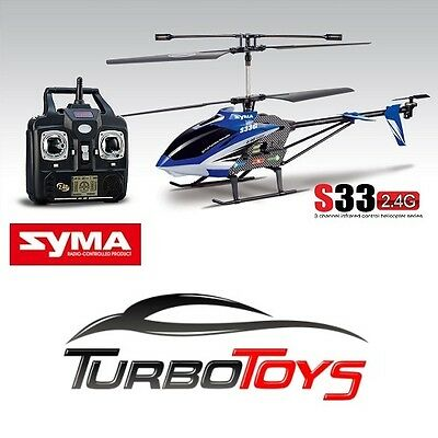 New - Rc Syma S33G 2.4G 3Ch Gyro Outdoor Helicopter - Blue - Aus Seller & Stock