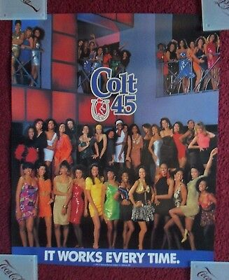 Sexy Girl Beer Poster COLT 45 Malt Liquor ~ Works Every Time LADIES NIGHT Club