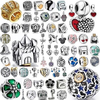 New Crystal Space Beads Fit European Charms 925 Sterling Silver Bracelets Chain