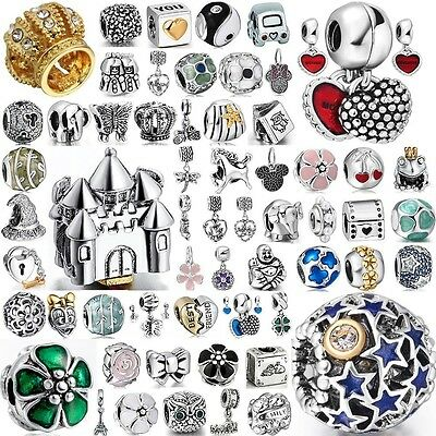 New European Silver Charms Crystal Space Beads Fit 925 Sterling Bracelets Chain