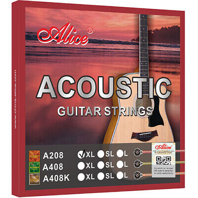Alice A208 Acoustic Guitar Strings Set 6 Steel 11s or 12s Custom / Light Gauge