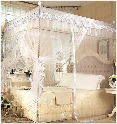 White Princess 4 Poster Bed Canopy Mosquito Net  Bed Single Small Double King