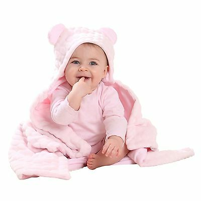 Clair De Lune Marshmallow Pink Teddy Bear Ears Hooded Pushchair Baby Blanket